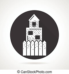 Defence wall black round vector icon - Black round flat...
