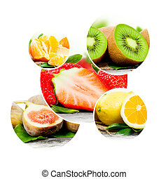 Fruit mix - Photo of abstract fruit mix on white background