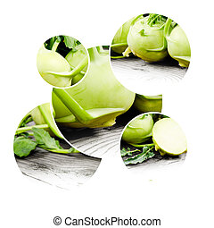 Kohlrabi - Photo of kohlrabi mix with leaves and white space