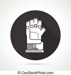 Sport glove black round vector icon - Flat black round...