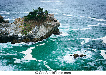 View of waves and rocks in the Pacific Ocean, at Julia...