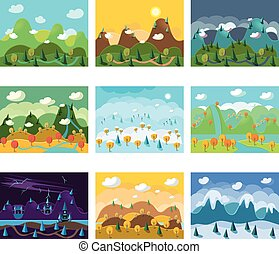 Vector Landscape Cartoon Seamless Backgrounds Set - Vector...