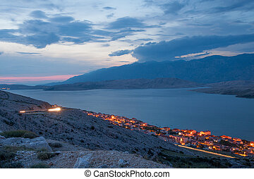 Pag town at night