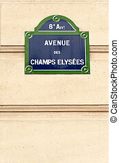 Avenue des Champs-lyses sign on the famous street in Paris...