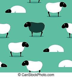 sheep,  amongst, pretas, fundo, azulejo, branca