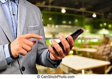 Business, homme, utilisation, mobile, intelligent,...