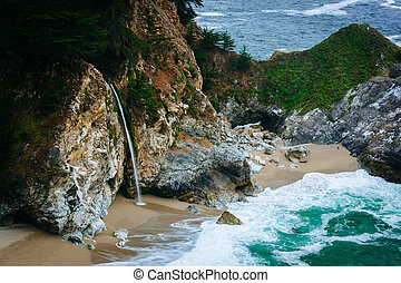 View of McWay Falls, at Julia Pfeiffer Burns State Park, Big...
