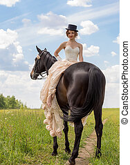 Girl and horse - Young woman in vintage dress and her horse...