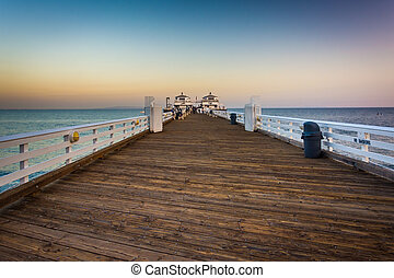 The pier at sunset in Malibu, California.