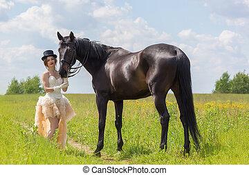 menina, e, cavalo,