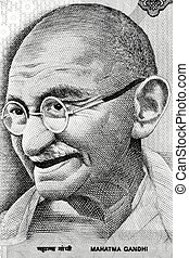 Gandhi on Rupee note - Macro image of Indian father of...