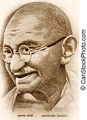 Gandhi - Macro image of Gandhi on Indian rupee note