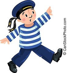 Happy sailor - Happy jolly boy-sailor in vest and sailor hat...