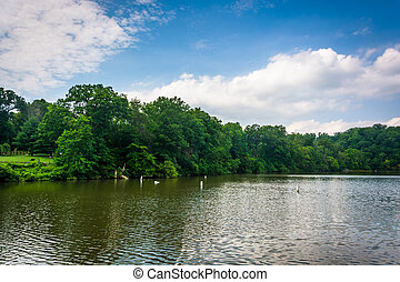 Lake Roland, at Robert E. Lee Park in Baltimore, Maryland.