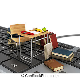Keyboard with chair, desk and books. Online learn concept.
