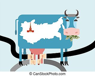Cow eats money, dollars. Map of Russia Moscow Kremlin on  skin of cow. Hand Milking a cow for udder. Allegorical illustration for  magazine. Farm animal blue