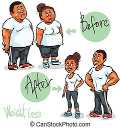 Man and Woman achieving their Weight-Loss goal - Happy...