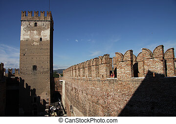 Castelvecchio in Verona, Italy, in a Autumn Day