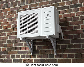 Air conditioner on a brick wall background