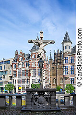 Crucifix located in the Het Steen Castle in Antwerp, Belgium