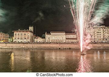 Fireworks in Pisa, Italy