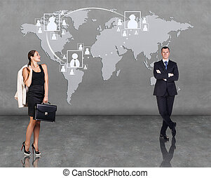 Business people with map on the background
