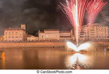 Fireworks for Luminara festival in Pisa, Italy