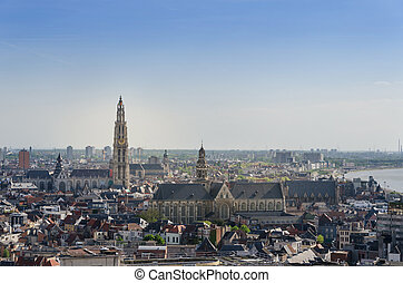 Aerial view on the Cathedral of Our Lady and the Church of...