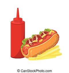 Print - illustration. hotdog on white background.
