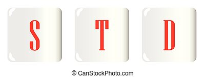 STD Buttons - White buttons with the letters STD embosed
