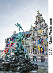 The Grand Place with the Statue of Brabo and City Hall of Antwerp, Belgium