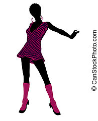 African American Go Go Dancer Illustration Silhouette -...