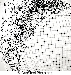 Exploded grid ball made of connected dots with black wires