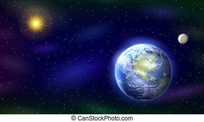 Solar System, Seamless Loop - Fullhd 1920x1080 Progressive...