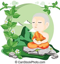 monk - illustration Cartoon buddhist monk meditating