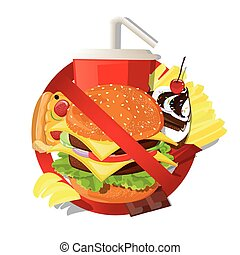 Print - illustration. Fast food danger label