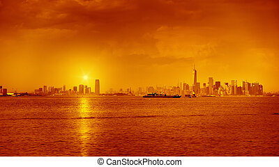 New York Sunset - An image of a sunset at New York