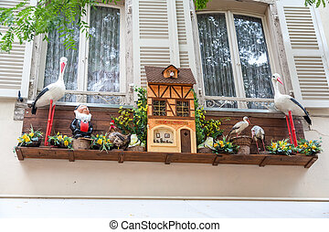 The originally decorated window in Strasbourg. France - The...