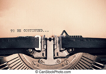 Detail of vintage typewriter with message - Detail of retro...