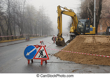 road works - road signs, road works in the sity