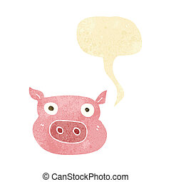 cartoon pig face with speech bubble