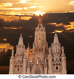 Tibidabo - The Sagrat Cor church atop the mountain Church...