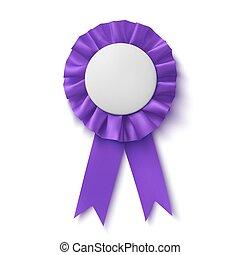 Blank, realistic purple fabric award ribbon.
