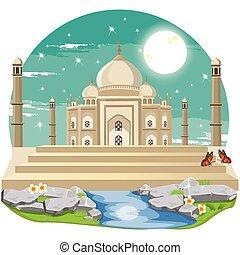 Print - illustration. Taj Mahal