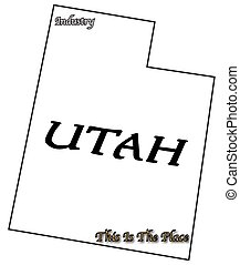 Utah State Slogan and Motto - A Utah state outline with...
