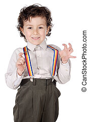 Boy with suspenders over a white background