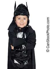 adorable child disguised of bat a over white background