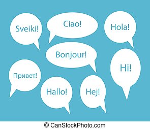 Set of Speech Bubble with Hello Word on Different Languages...