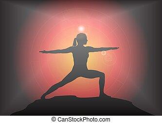 Yoga Warrior Pose Glare Background