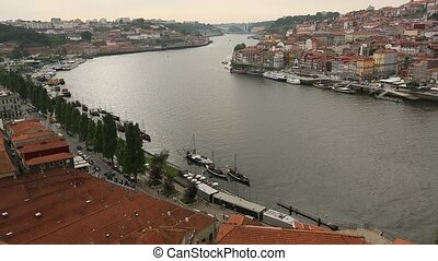 Top View of Douro river at center of Porto, Portugal